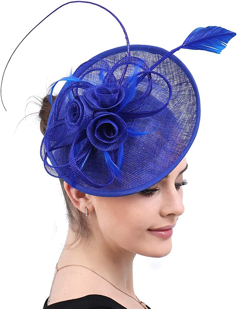 YONQUIL Women Royal Blue Sinamay Fascinators Base Linen Cocktail Hat Fashion Party Church Headpiece Formal SYF585