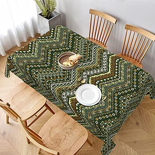 Mantel Rectangular,Patrón de Estilo Chevron con diseño de Adorno,Manteles Lavable Antimanchas de Mantel para jardín Habitaciones decoración de Mesa 152x228cm
