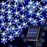 Luces Solares de Cadena de Copo de Nieve Más Grande Luces de Hadas de Cuerda con Energía Solar Impermeables de 80 LED 33 Feet 8 Modos para Decoración de Árbol de Navidad (Luz Azul)