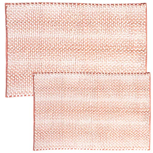 Sweet Home Collection Bathroom Rugs Set 2 Piece Butter Chenille Noodle Soft Luxurious Absorbent Non Slip Latex Back Microfiber Bath Mat, Zig Zag Coral