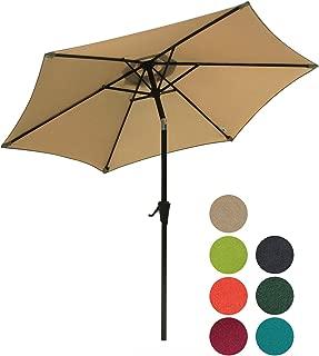 Patiorama 7.5 Feet Outdoor Patio Umbrella Outdoor Market Umbrella with Crank, 6 Ribs, Polyester Canopy, Beige