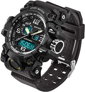 Beclgo Men's Watch Classic Multifunction Sport Waterproof Quartz Watches Colorful Cold Light LED Double Display Outdoor Adventure Electronics Men's Luminous Wrist Watch