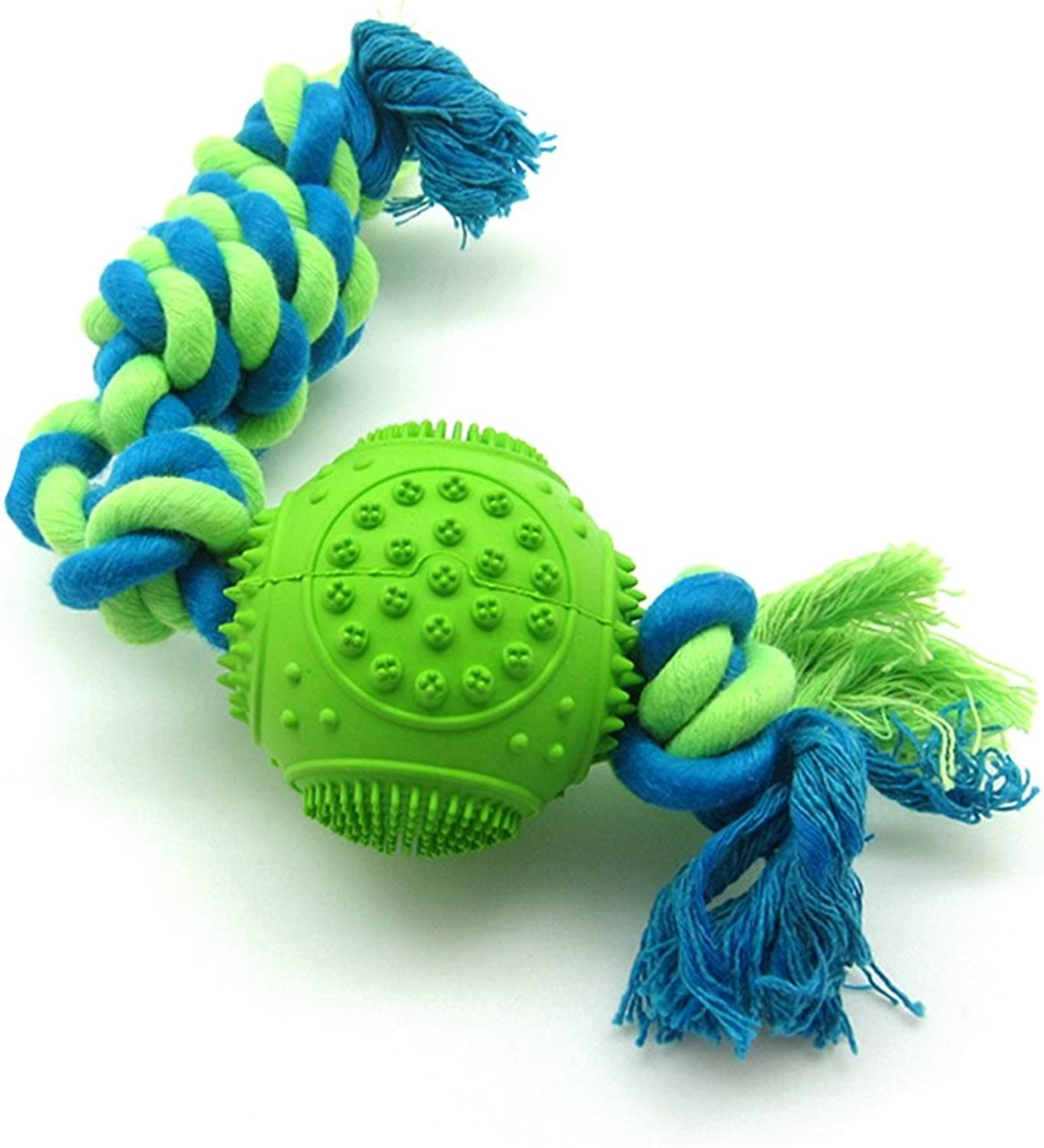 Rope Dog Toy con Durable Natural Rubber Ball per Small Dog Tug of War, Chewing and Training