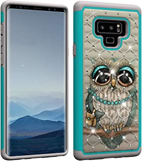 Aiyze Compatible Samsung Galaxy Note 9 Case [Heavy Duty] Tough Dual Layer 2 in 1 Rugged Rubber Hybrid Hard Plastic Soft TPU Impact Back Protective Cover Coloured Drawing with Bling Diamond - Grey Cat