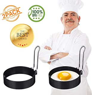 Egg Ring, ARTISTORE 2 Pack Round Egg Pancake Maker Mold, Stainless Steel Non Stick Metal Circle Shaper Mold, Household Kitchen Cooking Tool for Frying or Shaping Eggs, Egg Maker 3 Inch