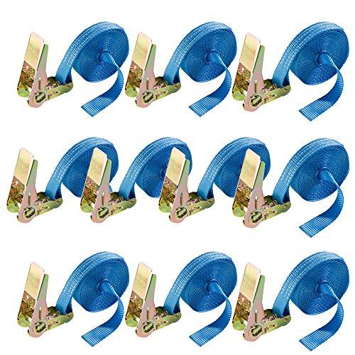 Arebos Spanngurt Set 4 oder 10 Stück/Länge 4 und 6 Meter / 800 kg/Einteilig (6 m - 10 Stück)