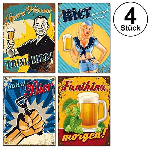 Cepewa 4er Set Blechschilder Bier Bar Retro Vintage Kneipe Werkstatt Männer Bierwerbung Partyraum