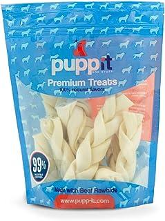 Puppit Carnaza Natural en Forma de Trenza para Todos Tipos y Razas de Perros