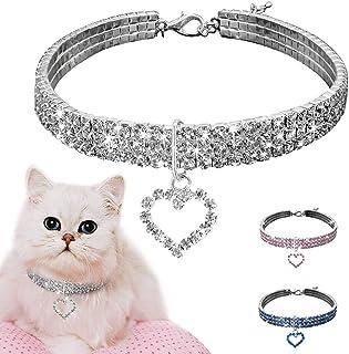 CHDHALTD Bling Rhinestones Cat Collar,Crystal Pet Collar,Pet Necklace,Cute Dog Cat Elastic Adjustable Collar Necklaces,Pup...