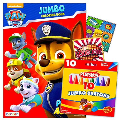Disney Studios Paw Patrol Coloring Book and Crayons Bundled with 2 Specialty Separately Licensed GWW Reward Stickers