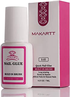 Makartt Nail Glue for Acrylic Nails, Strong Nail Glue Brush Applicator, Professional Nail Glue for Broken Nails Long Lasting, S-05