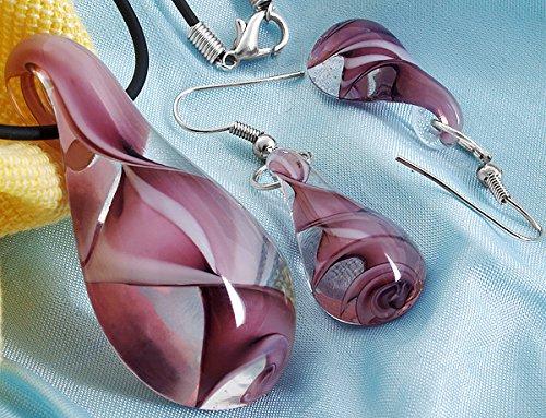 skyllc® Conjunto de Bolas de Cristal en Forma de Gota de Agua en Espiral Murano Colgante Pendientes del Collar púrpura