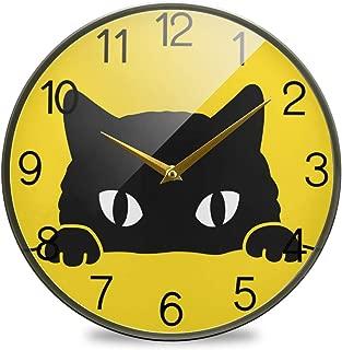 Chovy 掛け時計 サイレント 連続秒針 壁掛け時計 インテリア 置き時計 北欧 おしゃれ かわいい 黒猫 猫柄 ネコ かわいい イエロー 黄色 アニマル おもしろ 部屋装飾 子供部屋 プレゼント