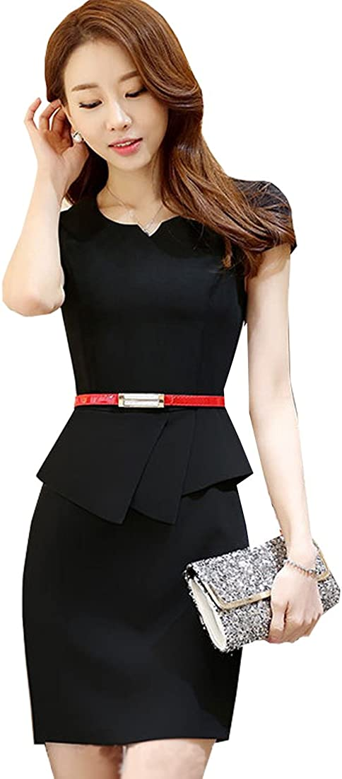 S&S-women Bodycon Pencil Dress Business Wear to Work Sleeveless Cocktail Party