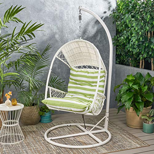 Christopher Knight Home 311862 Amanda Wicker Hanging Chair with Stand, White, Green