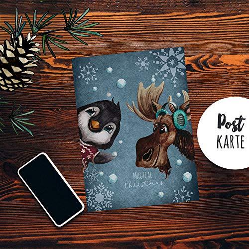 ilka parey wandtattoo-welt A6 Weihnachtskarte Weihnachtsgrüße Postkarte Print Elch Pinguin Schneeflocken Grußkarte Magical christimas pk259 - ausgewählte Größe: *1 Stück*