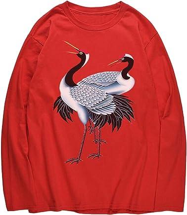 Jofemuho Men Round Neck Regular Fit Knitted Birds Winter Long Sleeve Pullover Sweaters