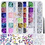 Best Nail Glitters - 4 Boxes Holographic Nail Sequins Shapes Mixed Iridescent Review