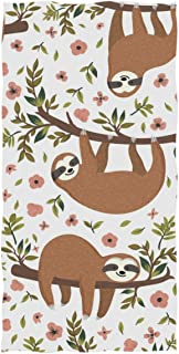 Naanle Cute Baby Sloths in Tree Branch Flowers Pattern Soft Highly Absorbent Large Hand Towels Multipurpose for Bathroom, Hotel, Gym and Spa (16