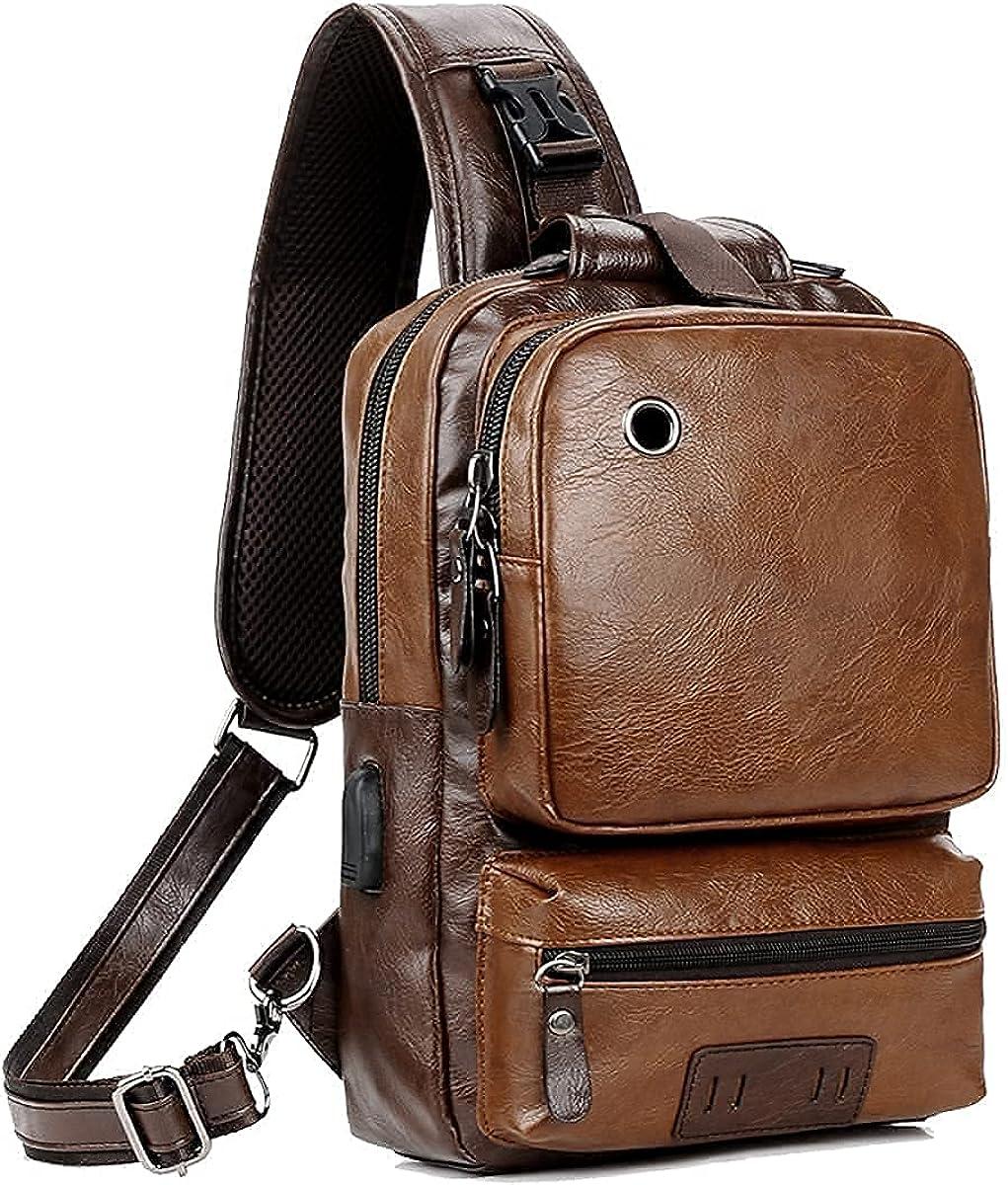 Small Black Sling Crossbody Backpack Shoulder Bag for Men Women Vintage PU Leather Sling Backpack Cycling USB Charger