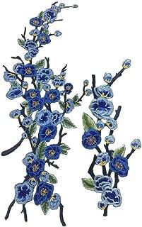 1set Pink/Blue Quince Sakura Flower Embroidery Iron On Applique Patch(1set =2pcs) (Blue)