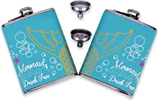 OBALY 2pcs Flasks Set, 8 oz Mermaid Group Picture Couple Flask Food Grade Stainless Steel Leakproof Beverage Pot, Premium Leather Wrapped Hip Flask for Women with Funnel, a Perfect Gift