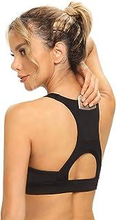 MS.ING Women Sports Bra with Back Pocket Lightweight Padded Running Yoga Bras Medium Support Workout Activewear