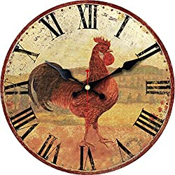 ShuaXin Art Decorative Round Wooden Wall Clock,12 Inch Vintage Rooster Style Wall Clock,Silent Non Ticking Battery Operated Clock for Wall Decoration