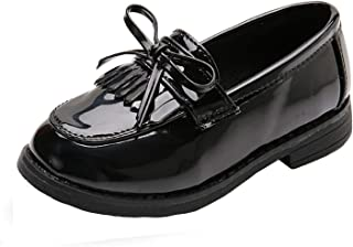 b5a2c694df0 WUIWUIYU Girls  Patent Leather Slip-On Penny Loafers Flats Bow Tassel  Oxfords Moccasins Dress
