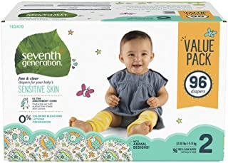 Seventh Generation Free & Clear Diapers stage 2, Size 12- 18 lbs, Mega pack, 96 Count