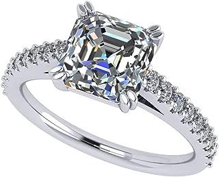 NANA Sterling Silver 7mm (2ct) Asscher Cut Solitaire Engagement Ring