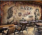 Papel tapiz fotográfico Papel tapiz mural 3D Barber Shop Nostálgico Maquillaje Retro No tejido Poster Art Salon Pintura mural-200cmx140cm
