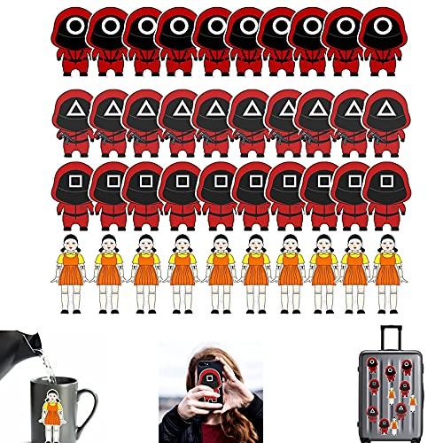 10 sets Squid Game Sticker, Squid Game Card Sticker, Adesivi per Giochi di Calamaro Mascherato Spaventoso, Adesivi per Cartoni Animati per Computer, Tazza, Telefono, Carta di Credito