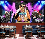 Papel tapiz personalizado 3D graffiti tendencia música street dance ktv fondo pared foto mural papel tapiz 3D cartel decoración de la pared wallpaper-350 * 245cm