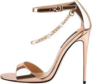Onlymaker Womens Beaded Chain Ankle Strappy Stilettos High Heel Sandals Open Toe Single Band Pearl Sandals Shoes
