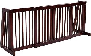 Giantex Folding Adjustable Free Standing 3 Panel Wood Pet Dog Slide Gate Safety Fence