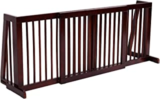 Giantex Folding Adjustable Free Standing 3 Panel Wood Pet Dog Slide Gate Safety Fence