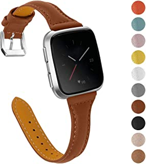 Joyozy Genuine Leather Bands Compatible with Fitbit Versa&Fitbit Versa 2 &Fitbit Versa SE&New Fitbit Versa Lite Smartwatch, Replacement for Accessories Fitness Strap Women Men(5.5 - 7.8)