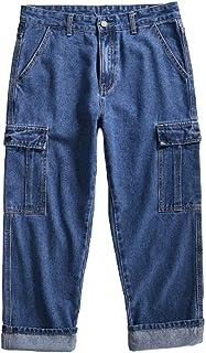 brandless Pantaloni da Uomo Jeans Tooling Pantaloni Dritti Multi-Tasca Casual Allentati Giapponesi retrò
