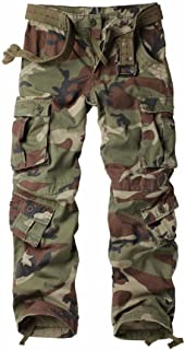 Women's Casual Loose Fit with 8 Pockets Cargo Pants Plus Size Camouflage Work Pants