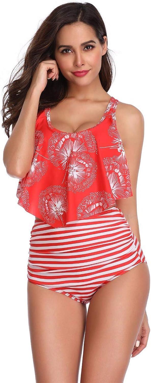 CPUTAN Women Halter Two Piece Ruffle Floral Stripe Dot Bikini Set High Waist Swimsuit