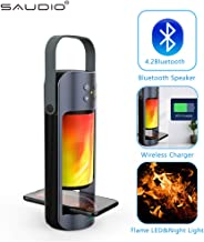 Portable Bluetooth Speaker Stereo Wireless Charger with Flame LED Night Light, SAUDIO Extraordinary Bass Support TWS SD/USB Plug&Play,Hands Free Answer for iOS Android Phones