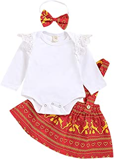 KMBANGI Toddler Kids Girl Thanksgiving Outfits T-Shirt Tops+Plaid Suspender Skirt+Headband Set (3-6 Months, Christmas)