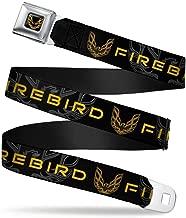 Buckle-Down Seatbelt Belt - Pontiac FIREBIRD/Logo Black/Grays/Golds - 1.5