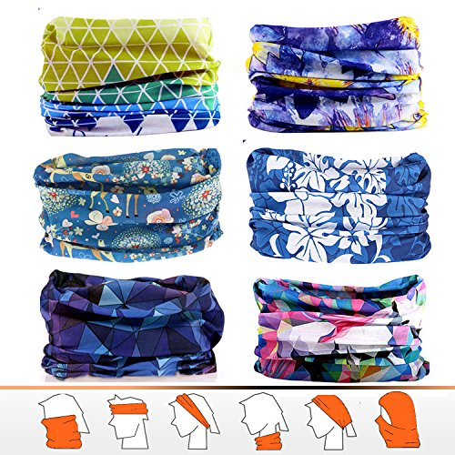 JOEYOUNG Bandanas Multifunktionstuch Schal Headwear Neck Gaiter, Head Wrap für Frauen, Magic Head Scarf, Gesichtsmaske, Sturmhaube, Schweißband für Angeln, Yoga, Motorrad