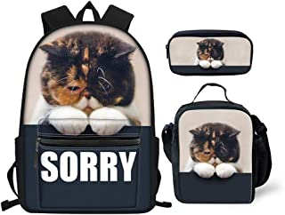 HUGS IDEA Cute Animals Backpack Set for Kids Kitten Sorry Print Teen Girls Boys School Bag with Lunchbox Pencil Case 3PCS