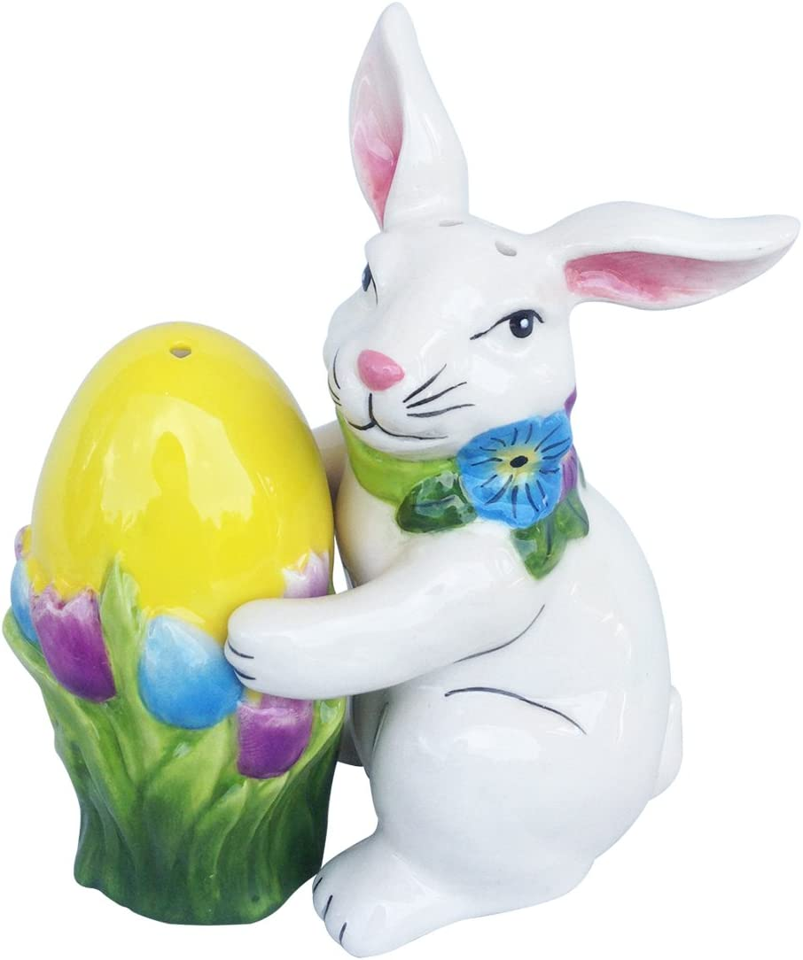 Blue Sky Ceramic Rare Easter Bunny and Multico Set Free shipping anywhere in the nation Salt Pepper Egg