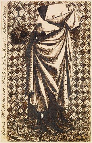 Het Museum Outlet - Vrouw - Vrouw in middeleeuwse kostuum, ca1855, Stretched Canvas Gallery verpakt. 20 x 28 cm.