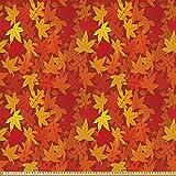 ABAKUHAUS Orange Stoff als Meterware, Herbst Ahornblätter,
