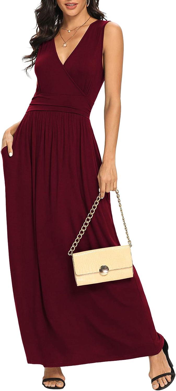 LILBETTER Women Sleeveless Deep V Neck Loose Plain Long Maxi Casual Dress